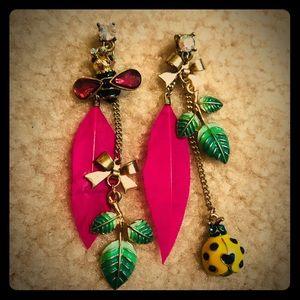 Betsey Johnson Bee Ladybug Feather Earrings